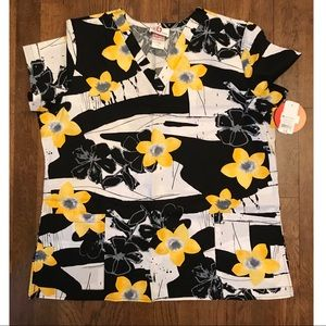 Tops - Yellow and black floral scrub top